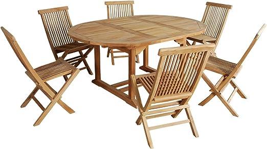 Salon de jardin en bois de TECK BRUT QUALITE GRADE A 6/8 ...