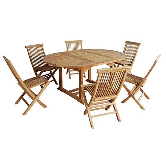Salon de jardin en bois de TECK BRUT QUALITE GRADE A 6/8 pers ...