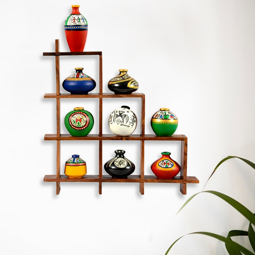 ExclusiveLane 9 Terracotta Warli Handpainted Pots With Sheesham Wooden Frame Wall Hanging -Indian Decorative Items For Home Gift Item Wooden Wall Art Decor Decorative Shelves Vases Home Decor