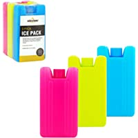 Milestone Camping Pack of 3 Mini Ice Cooler Blocks Reusable and Great for Kids School Lunchboxes Picnics Camping Pink/Lime/Blue H8 x W7 x D1.6cm