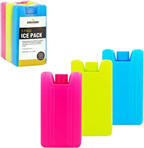 Milestone Camping 25160 Milestone Mini Ice Cooler Blocks Pack of 3-Red/Blue/Green, 0.1 Litre, Pink Lime, H10.5 x W6 x D2.5cm