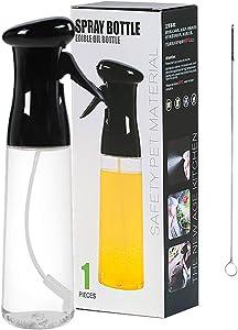 Ascotahoo Oil Sprayer for Cooking,Oil Sprayer Dispenser Bottle,Refillable Olive Oil Sprayer Mister,Olive Oil Sprayer,210 ml/320 ml,Food Grade PET BPA Free,spray bottles for BBQ (320ml, Black)