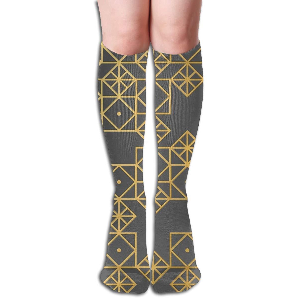 Geometric Gold Unisex Compression Socks Athletic Tube Stockings Sport Long Socks One Size