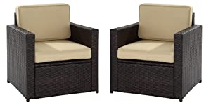 VIRASAT FURNITURE & FURNISHING Rattan and Wicker Balcony Furniture Set with 2 Sofa Chair and Cushion (Brown)