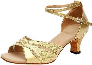 Women's Cross Strap Leather Peep Toes Latin Salsa Ballroom Dance Shoes Low Flared Heel BaojunHT®