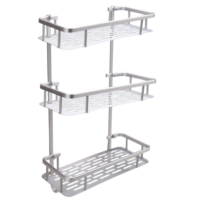 Dorfin 3-Tier Alumimum Corner Shelf Wall Shelves Storage Organizer for Kitchen Bathroom-12.4x 5.4 x 22inch