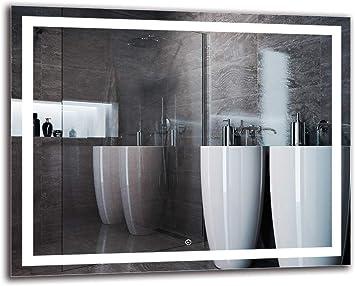 Taille du Miroir 40x40 cm Miroir avec /éclairage ARTTOR M1CD-24-40x40 Blanche Chaude 3000K Interrupteur Tactile Miroir Lumineux Pr/êt /à laccrochage Miroir LED Deluxe Miroir Mural
