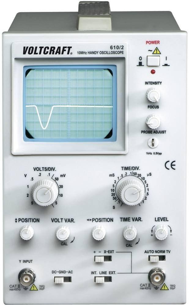 10 MHz VOLTCRAFT/® 610//2 Oscilloscopio 1analogico a canali Ampiezza banda 0 DC