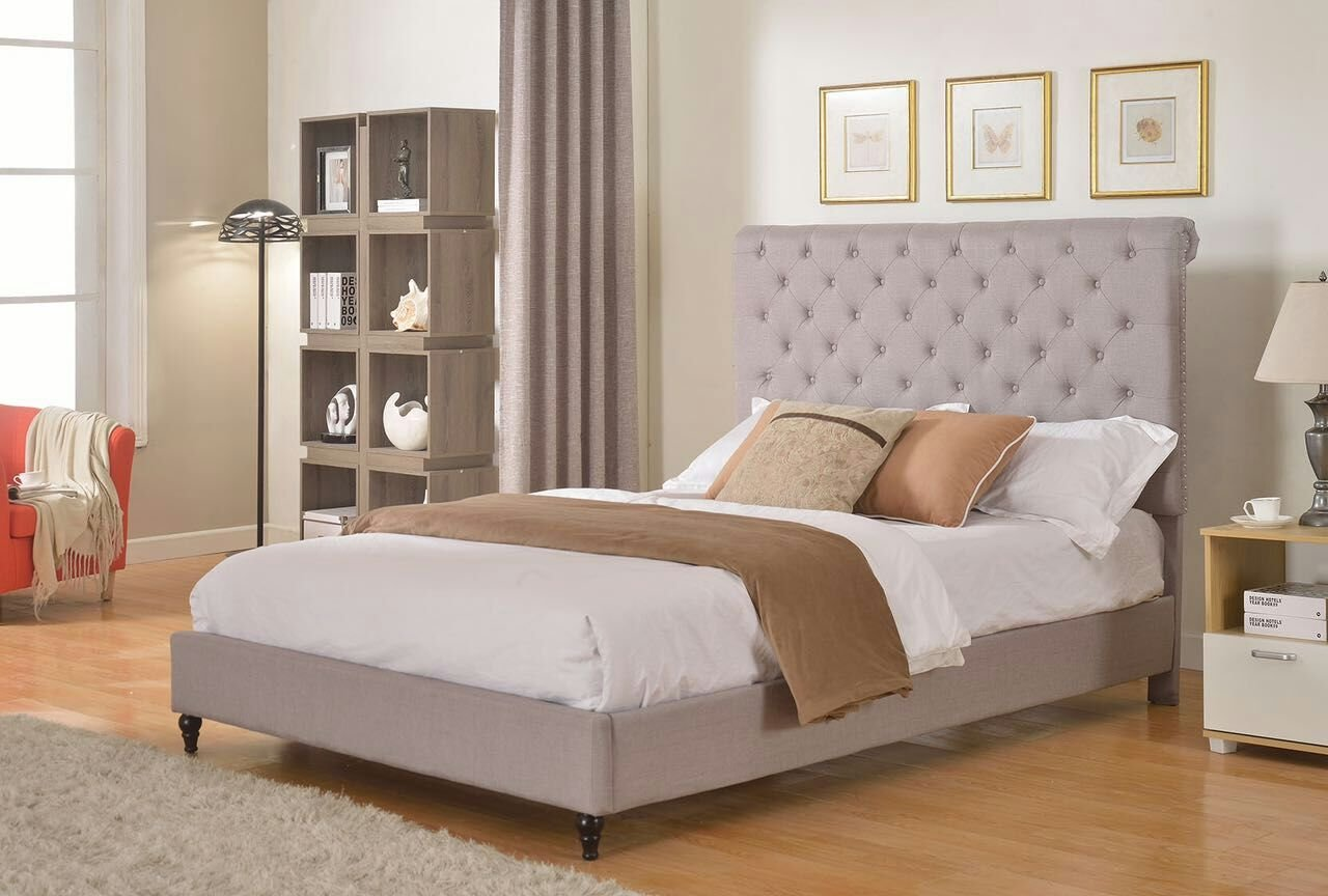Life Home Cloth Light Grey Silver Linen 51 Tall Headboard Platform Bed with Slats Full - Complete Bed 5 Year Warranty Included Superior Importers Company