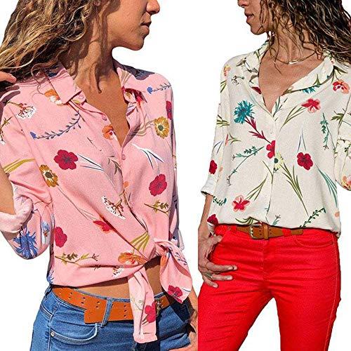 Imprim Femme Revers Blanc Avant Chemisier Bouton Shirt Floral S lgant Manche Polyester T 2XL Longue MINASAN qw5Fnx8dq
