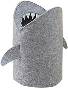 BOLLAER Shark Storage Bucket, Laundry Hamper Bag Bins Toy Storage Basket Organizers Felt Cloth Folding Laundry Basket Shark Design Laundry Bag for Toys Clothes Storage