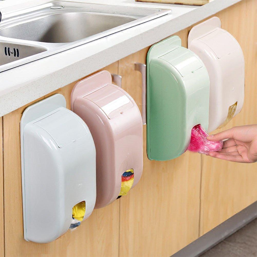 xiduobao Juego de 2soporte de pared bolsa de la compra organizador y dispensador, almacenamiento y reciclaje uso bolsa–instalar con viscosa, color al azar