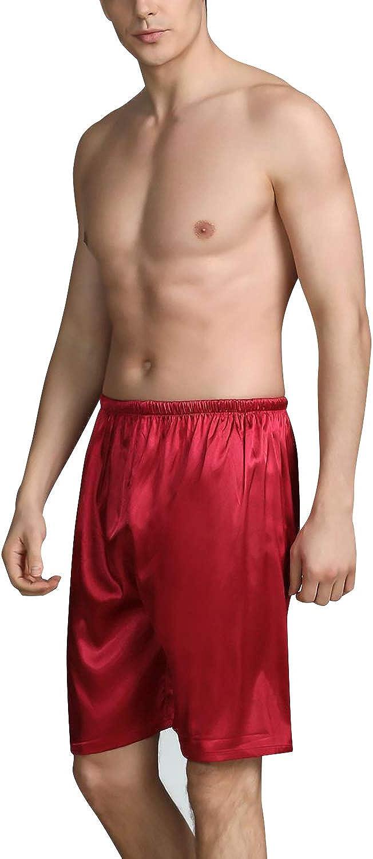 2 pacchi Raso di Seta Boxer Pantaloncini Casuale Biancheria da Notte Cintura Elastica Pantaloni da Notte Yoga Gli Corti Abbigliamento da Notte YAOMEI Uomo Pantaloni Pigiama Shorts