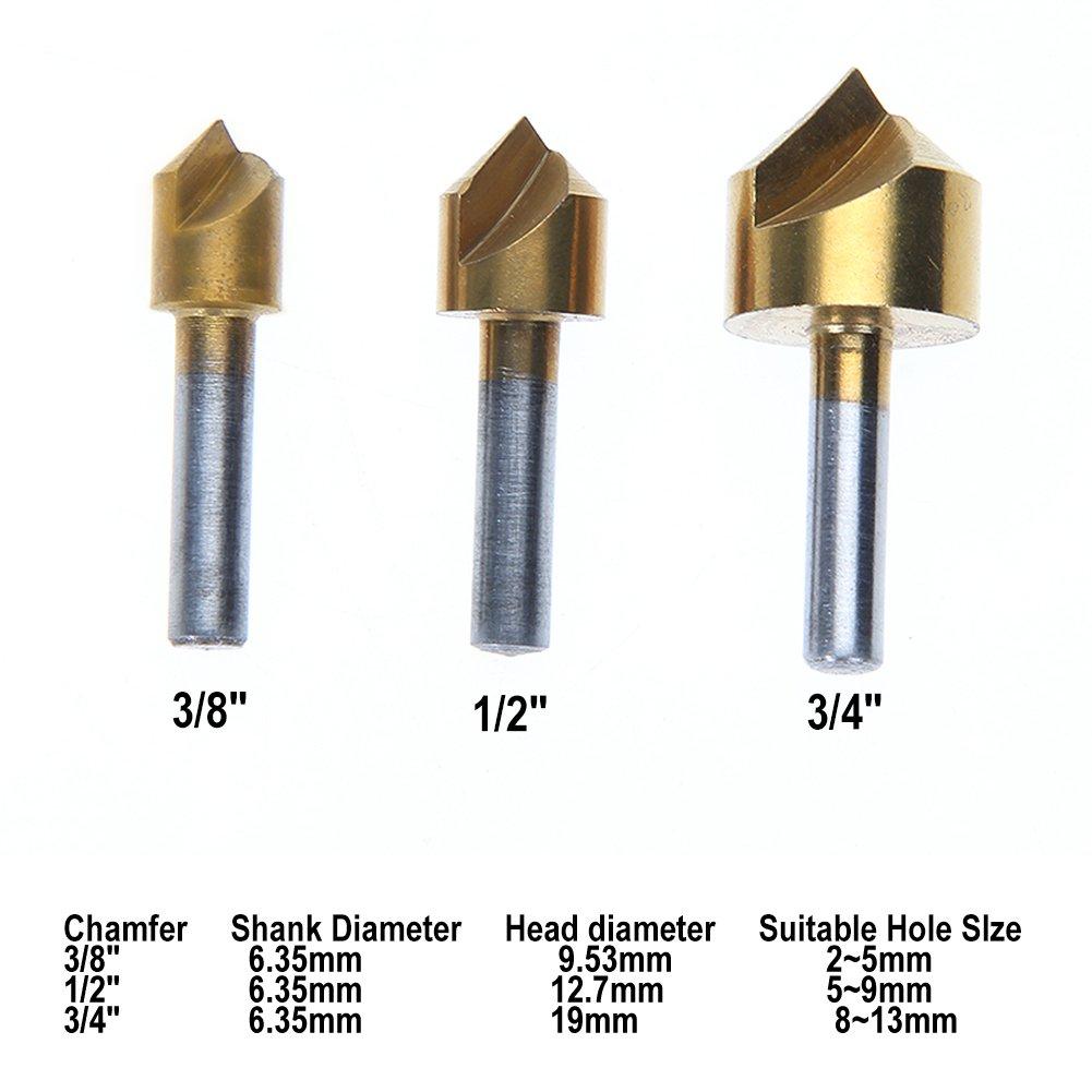 Demiawaking Unique Fl/ûte 90/Degr/é Bord chanfrein Fraise conique Foret 3//20,3/cm 1//5,1/cm 3//10,2/cm 3/pcs