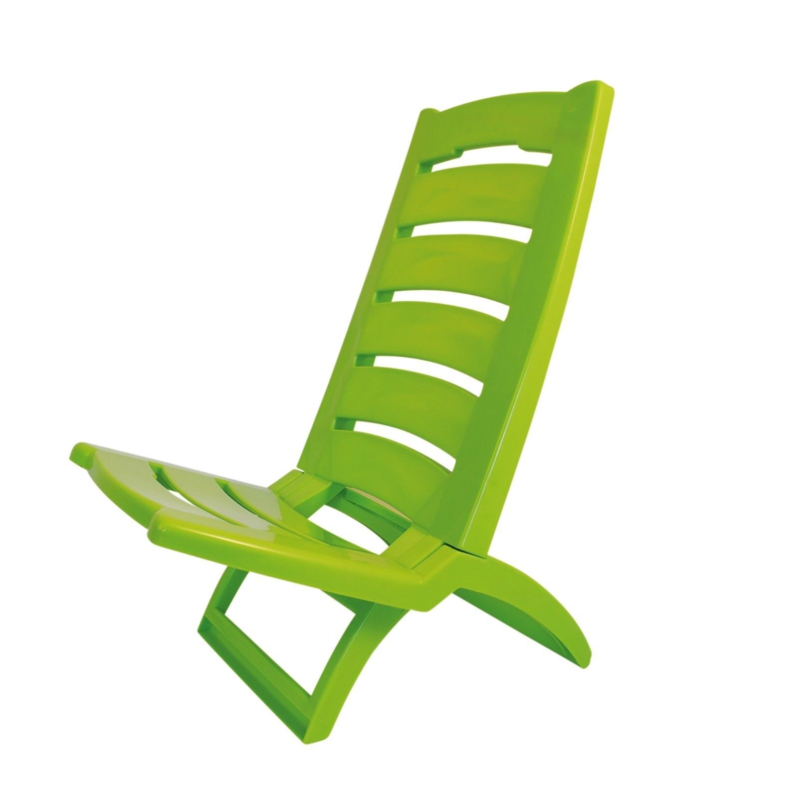 ADRIATIC Beach Chair Coloured Folding Plastic Low Deck Chair Sun Garden Sea Side Set Of 2 Light Green