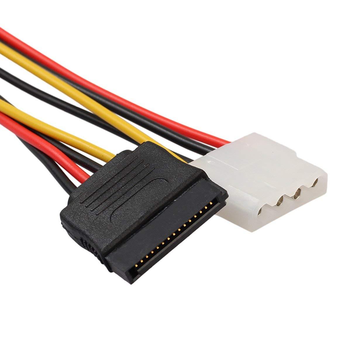 SATA Buchse Stromkabel 18AWG 1 bis 2 Stromleitung f/ür Motherboard und Festplatte Heaviesk 15 Pin SATA Stecker auf 4Pin IDE Molex Buchse
