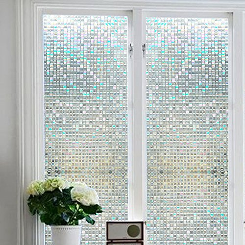 Moulding Cabinet Doors (Soqool Stained Glass Window Cling Film Frosted Glass Window Film Privacy Static Cling Film for Window Privacy Window Decor 17.7