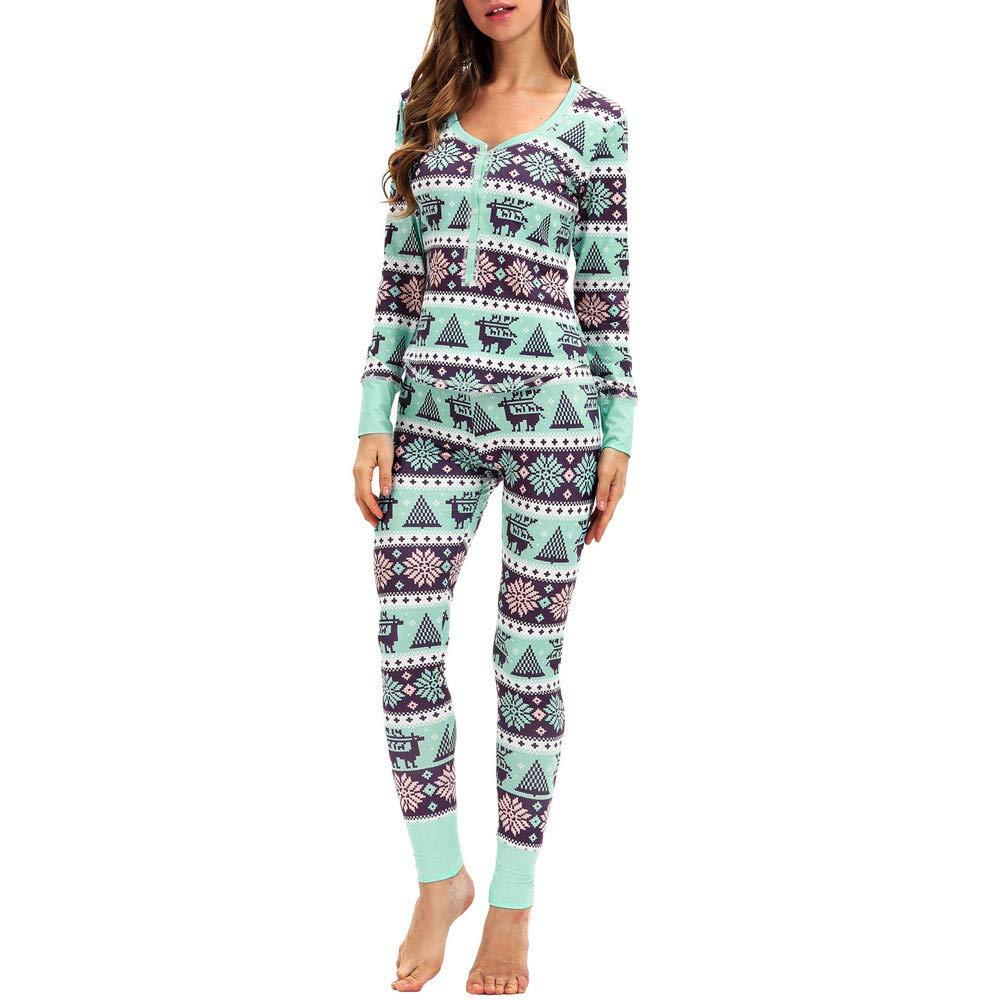 Pervobs Women Matching Elk Long Sleeves Christmas Pajamas Set Top Blouse+Pants