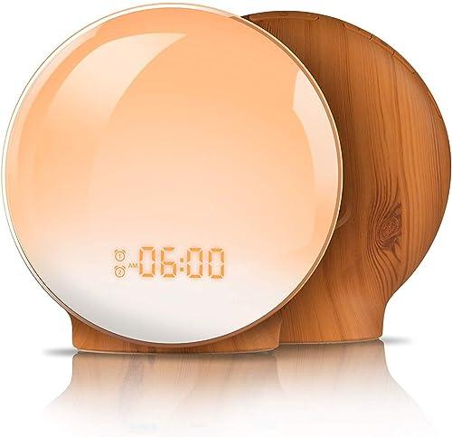 Wake Up Light,TITIROBA Sunrise Simulation Dual Alarms Clock Aid Sleep Snooze Function 8 Colors Night Light 7 Natural Sounds FM Radio,USB Charge Port-AM PM Wood Grain