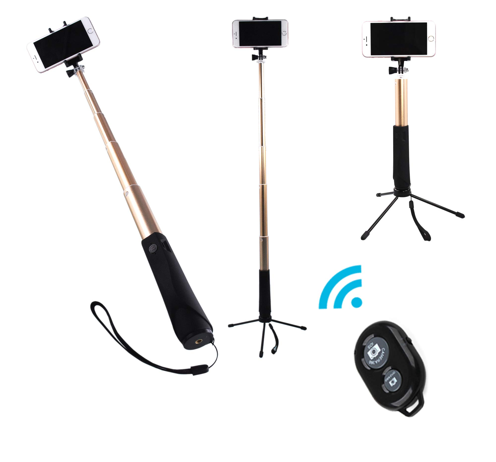 ZIZON Bluetooth Selfie Stick,Extendable Aluminum Monopod with Tripod Stand, Built-in Shutter Button, Foldable Mount Clamp & GoPro Adapter for iPhone/Android Smartphones and Action Camera. (Gold)