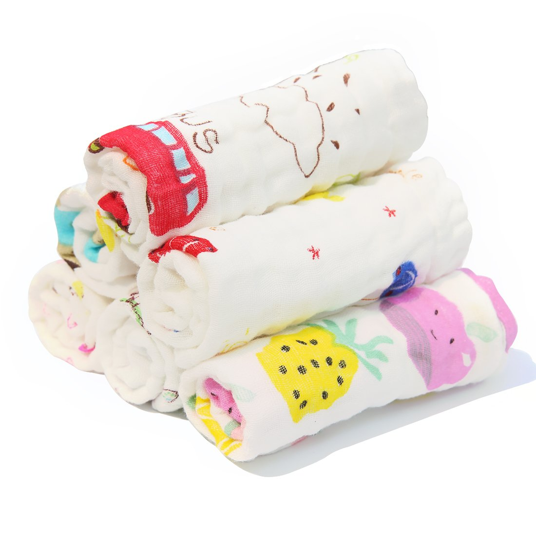 IBraFashion Baby Muslin Washcloths Soft Cotton Baby Face Towels Multi-Purpose for Sensitive Skin Natural 6 Packs (Printed Patterns Multicolored) BBT001