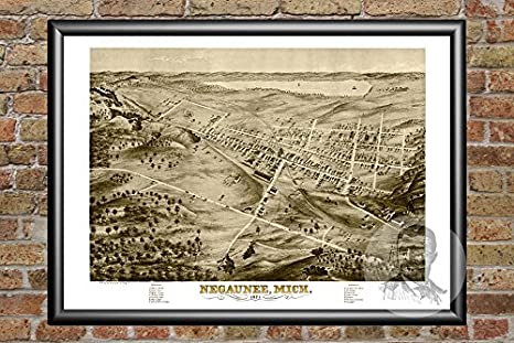 Amazon Com Ted S Vintage Art Negaunee Michigan 1871 Vintage Map Print Historic Marquette County Mi Art Digitally Restored On Museum Quality Matte Paper 18 X 24 Posters Prints