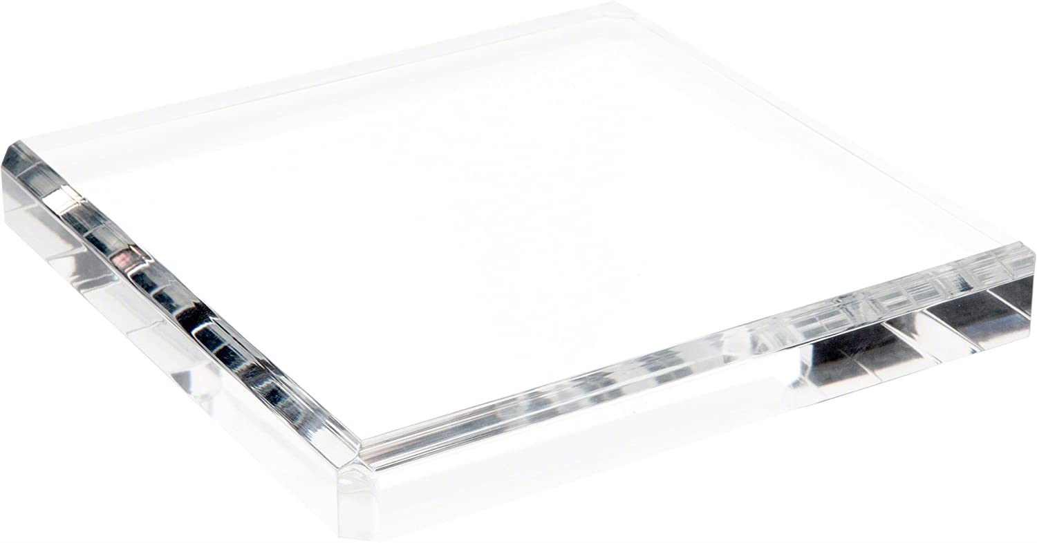 Plymor Clear Polished Acrylic Square Beveled Display Base, 1 H x 5 W x 5 D