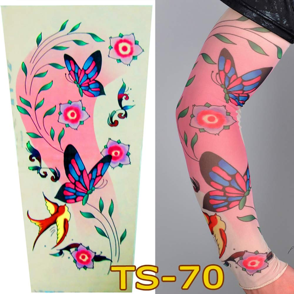 1Pc Unisex Nylon Elastic Temporary Tattoo Sleeve Body Arm Stockings UV Protection Tattoo Arm Sleeves for Men Cover up Stretchable Cosplay Costume Accessories for Men & Women (F)