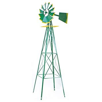 XtremepowerUS 8FT Green Metal Windmill Yard Garden Wind Mill
