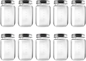Novelinks 16 Ounce Clear Plastic Jars Containers With Screw On Lids - Refillable Round Empty Plastic Slime Storage Containers for Kitchen & Household Storage - BPA Free (10 Pack)