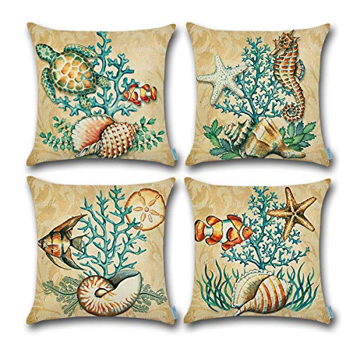 Carrie Home Beach Coastal Decor Sea Turtle/Seashell/Fish/Starfish/Octopus Decorative Throw Pillow Covers 18 x 18 inch for Outdoors, Set of 4 (Shell Coastal Decor)