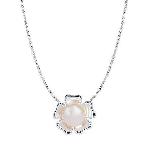 Silverage Collier Argent 925 Avec Pendentif Fleur De Perle De