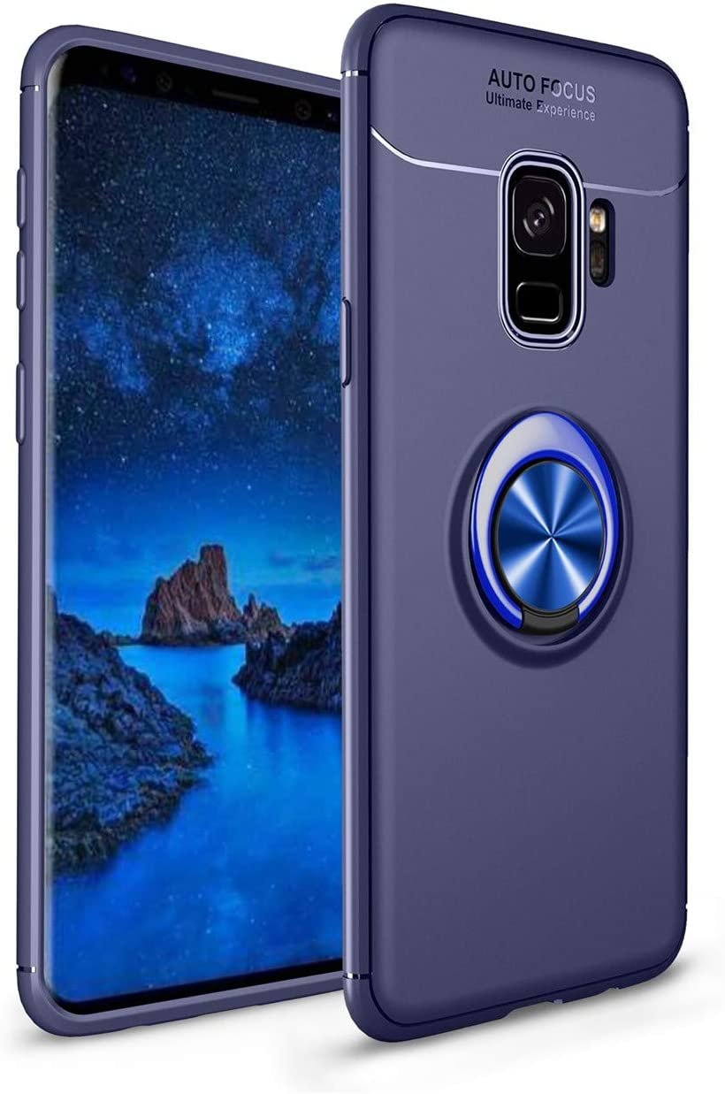Heavy Armor Samsung Galaxy S9 Plus Case Ring Holder Kickstand Magnetic Base Dual Layer Car Mount Rotable Dual Layer Protective Silicone Shell TPU Back Galaxy S9 Plus (6,Galaxy S9 Plus)