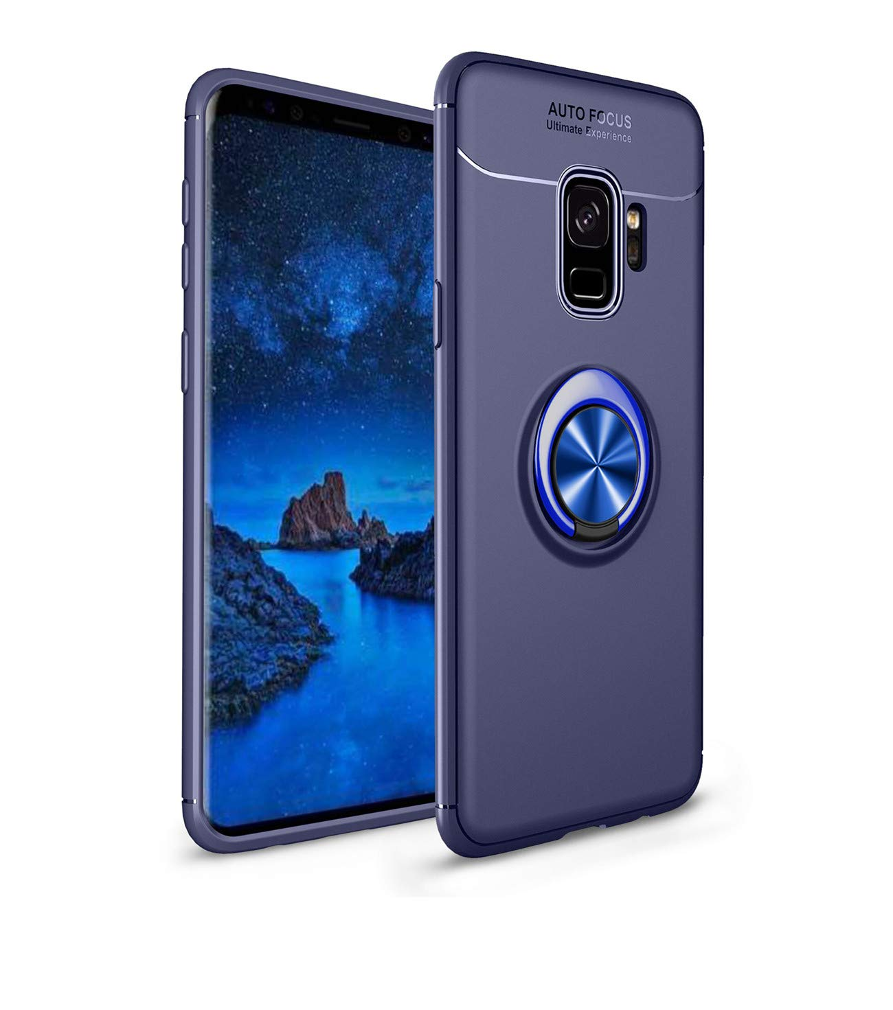 Heavy Armor Samsung Galaxy S9 Case Ring Holder Kickstand Magnetic Base Dual Layer Car Mount Rotable Dual Layer Protective Silicone Shell TPU Back Samsung Galaxy S9 Plus (6, Samsung Galaxy S9 Plus) by 54lany