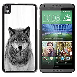 TopCaseStore / la caja del caucho duro de la cubierta de protección de la piel - Wild Wolf Howl Black White - HTC DESIRE 816