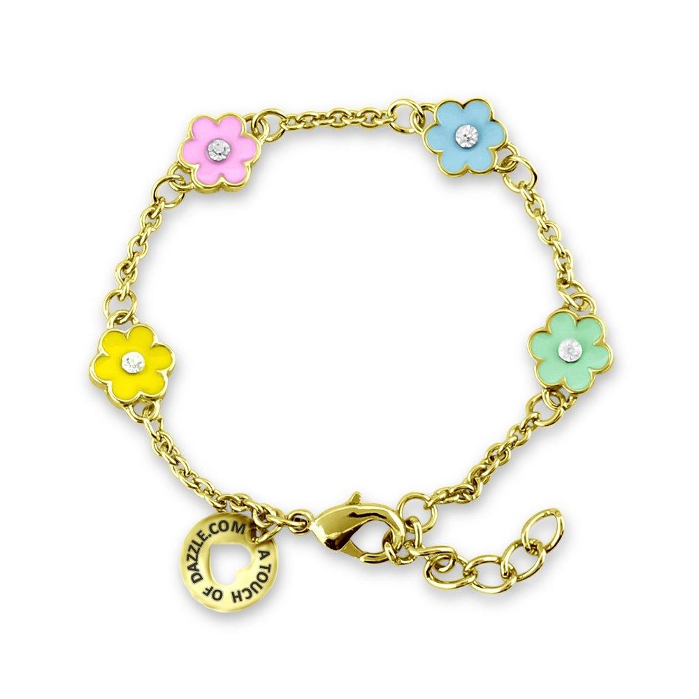 A Touch of Dazzle Little Girl Bracelets Flower Jewelry 18 K Gold Plated Bracelets for Girls | Jewelry for Girls | Toddler Jewelry for Girls, Little Girl Bracelets - Fine Girls Jewelry