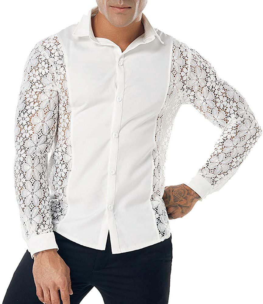 Men's Mesh See Through Fishnet Clubwear Shirts Long Sleeve Sexy Lace Undershirts Button Down Sheer Dress Shirts