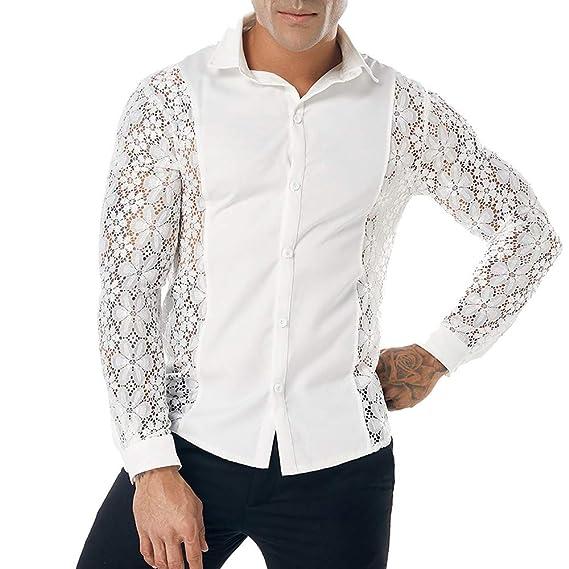 ALIKEEY Hombres Camisas De Otoño Casual Lace Top Blusa Camisa Camisa De Manga Larga Hollow Marvel