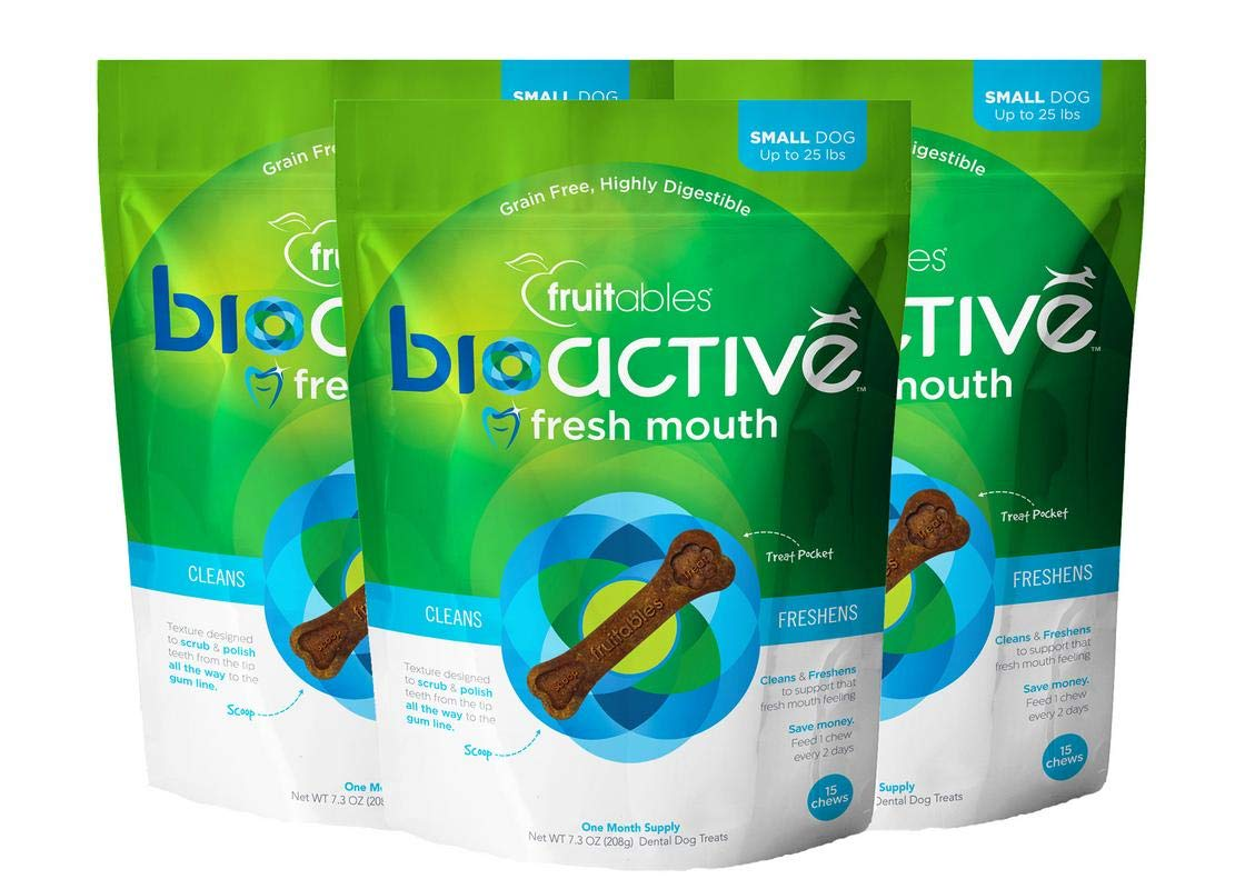 3 Pack of Fruitables 15 Count BioActive Fresh Mouth Dental Chews, Small 7.3 oz Each