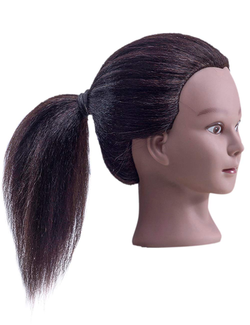 Cosmetology Mannequin Head with 100% Real Hair and Adjustable Stand 18-20\