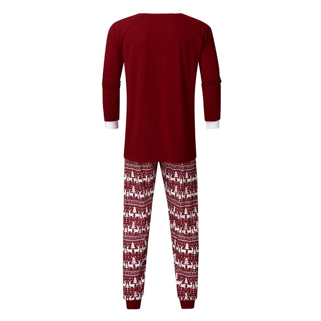 Saingace Ensemble Pyjama Famille Femme Homme Enfant Bebe,2 Pi/èces No/ël Wapiti Imprim/é Parent-Enfant Pyjamas Manches Longues T-Shirt Pull Top et Pantalon V/êtement de Nuit Romper Sleepsuit pour Hiver