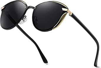 Rcxkoom Polarized Cat Eye Sunglasses for Women Stylish Trendy Round Shades with Mirrored Reflective Lens