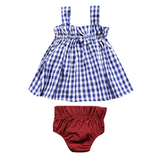 87020925213 Amazon.com  Comcrib Children Girls Summer Dress Lattice Shorts Suit  Children s Clothing Two-piece Outfits for 3-8 Years  Clothing
