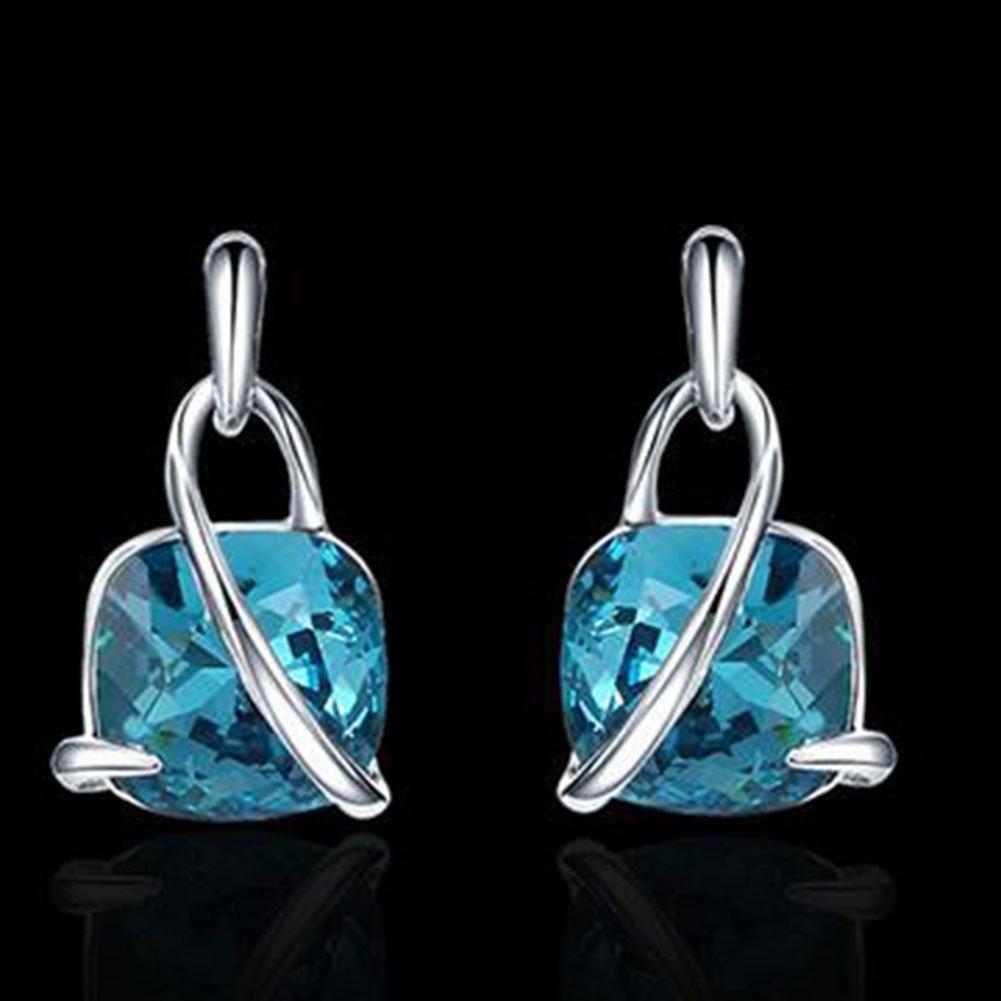 Gespout 1 Pcs Ladies Silver Pearl Necklace Pendant Elegant Choker Chain with Cubic Zirconia Liberalize Romanticized Bohemian Jewellry,Blue