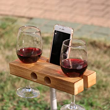 Lemo Handmade Outdoor Wooden Wine Glass Holder Phone Dockspeaker