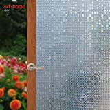 Arthome Frosted Decorative Privacy Window Films No Glue Non-Adhesive Self Static Cling Anti UV Removable for Home Living Room Bedroom Bathroom Kitchen Office (23.6 x 100 inch, AH006)