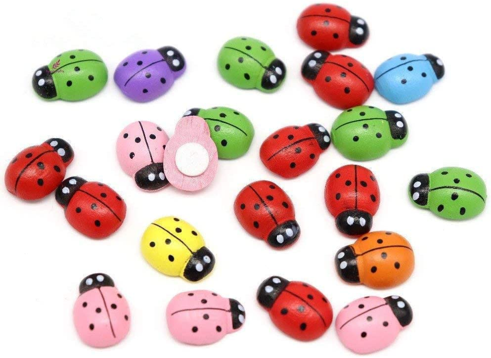 100pcs/pack Mini Wooden Ladybug Sponge Self-Adhesive Stickers Micro Landscape Decor for Scrapbooking Home Fairy Garden Dollhouse DIY (Colorful)