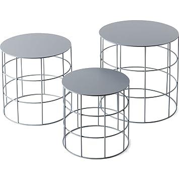 ATIPICO RETON – Set von 3 Runde Tische Farbe Asche: Amazon.de: Küche ...