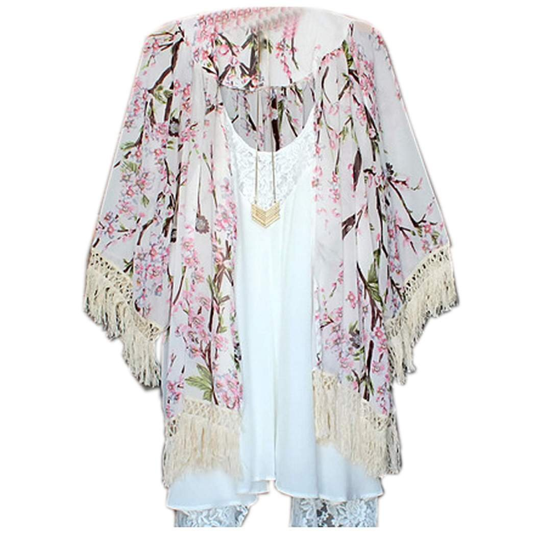 Fanala Sexy Women Boho Crochet Sheer Lace Floral Kimono Cardigan Coat Blouse Tops