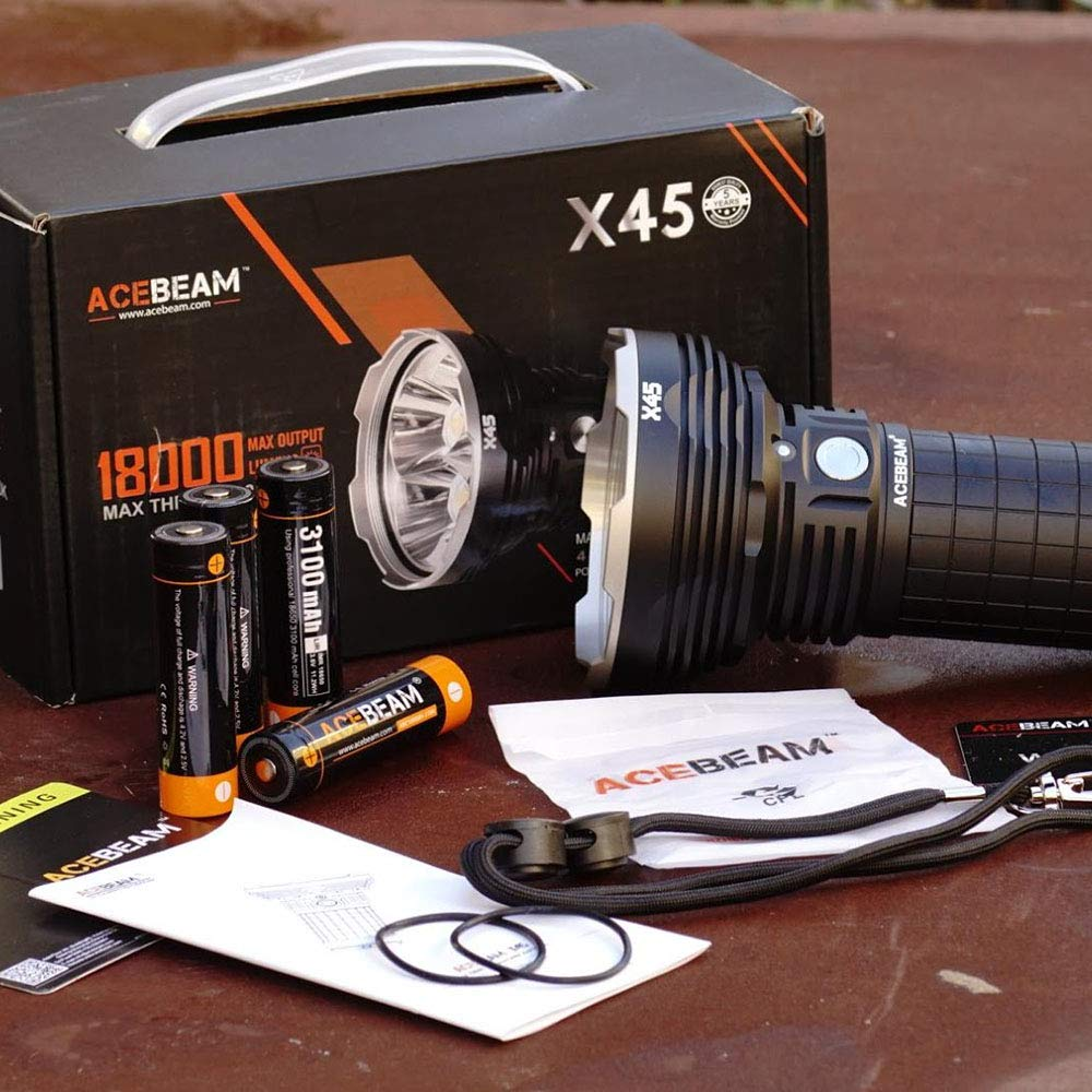 ACEBEAM X45 II Flashlight 18000 Lumens Cree XHP70.2 LED Flashlights High Lumens,Long Thrower 2083ft, 6500K